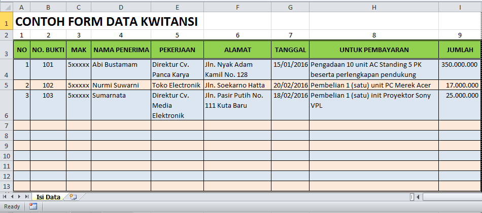 Cara Membuat Rumus Kwitansi Excel Blog Tutorial Microsoft
