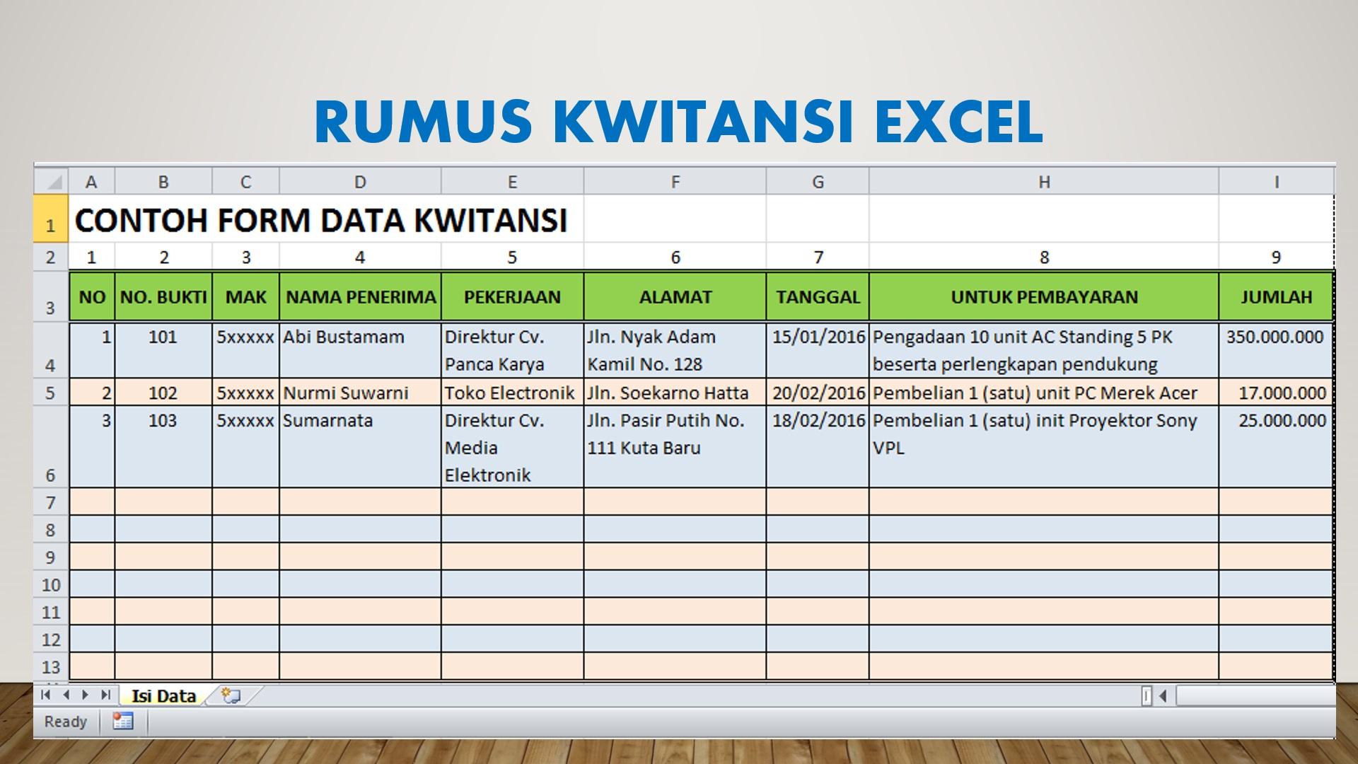 Cara Membuat Rumus Kwitansi Excel