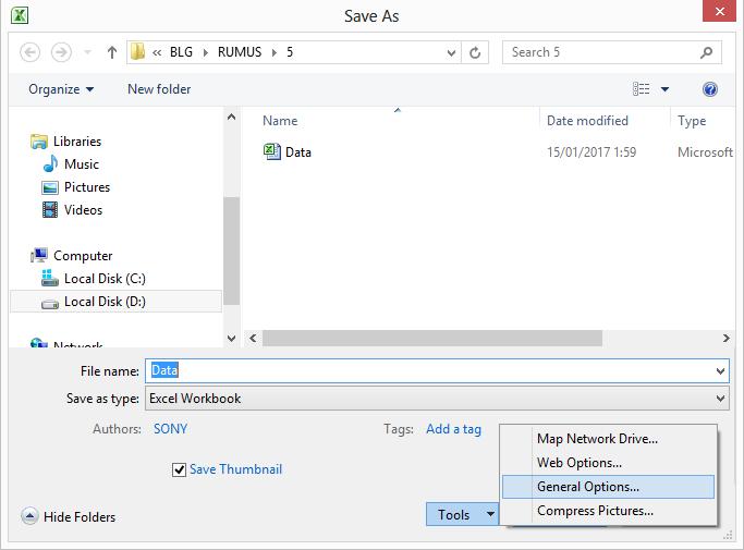 Membuat Password File Excel