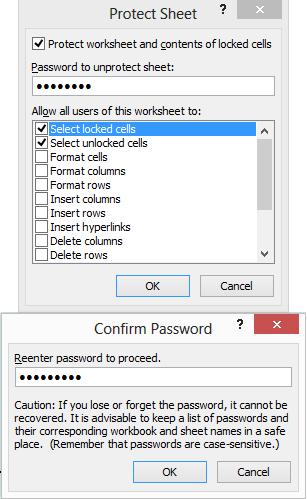 Fungsi Protect Sheet
