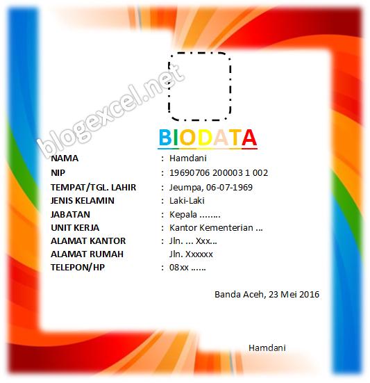 Rumus Biodata Excel