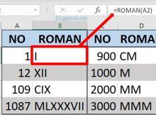 Fungsi Roman di Excel