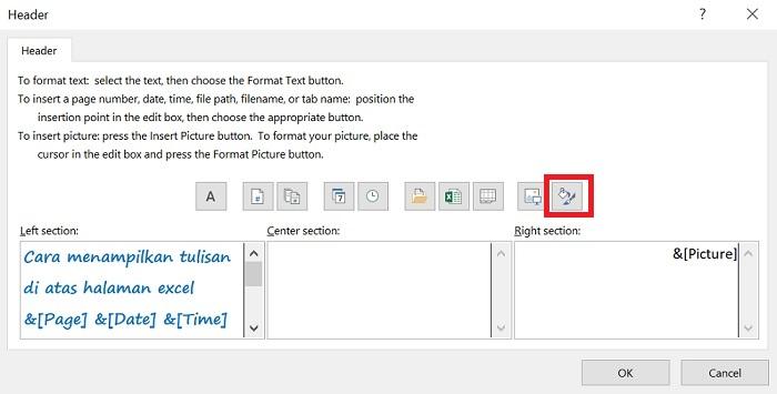 Format Header tulisan di atas halaman