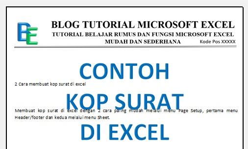Membuat Kop Surat di Excel