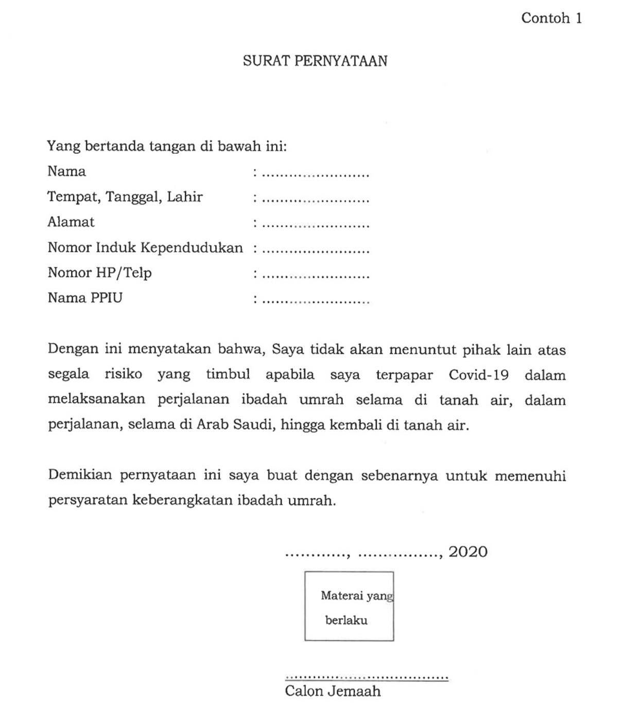 Format Surat Pernyataan jemaah umrah dimasa covid-19 untuk tidak akan menuntut pihak lain atas risiko yang timbul akibat Covid-19