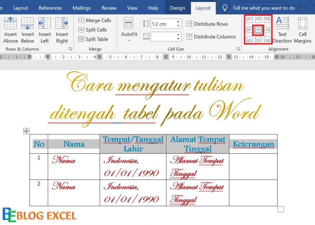 Cara mengatur tulisan di tengah tabel pada word