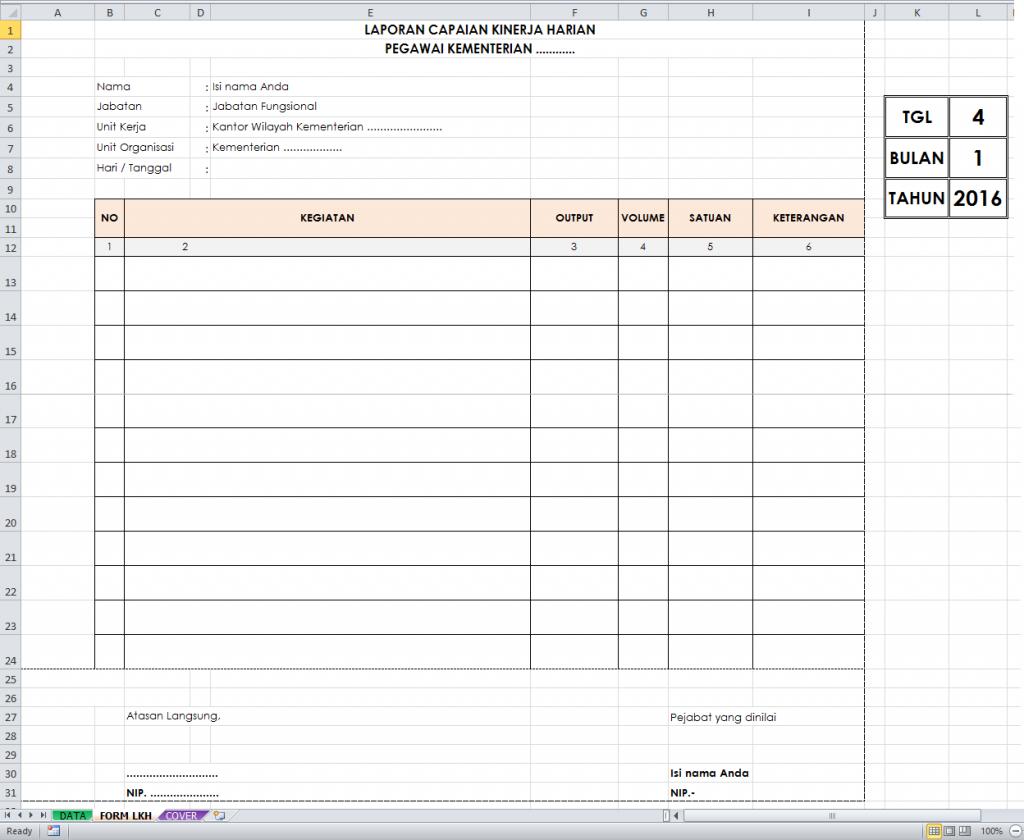 Format LCKH. Cara Membuat Rumus Excel LCKH PNS