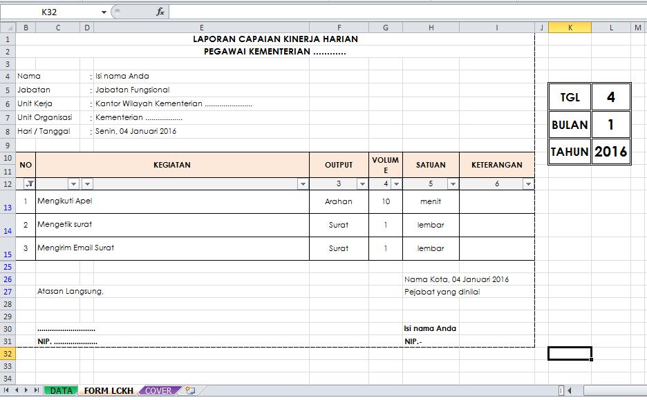 Form Data LCKH. Cara Membuat Rumus Excel LCKH PNS