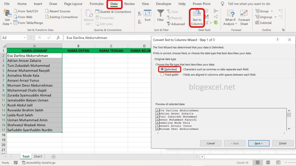 Cara Convert Teks ke Kolom di Excel