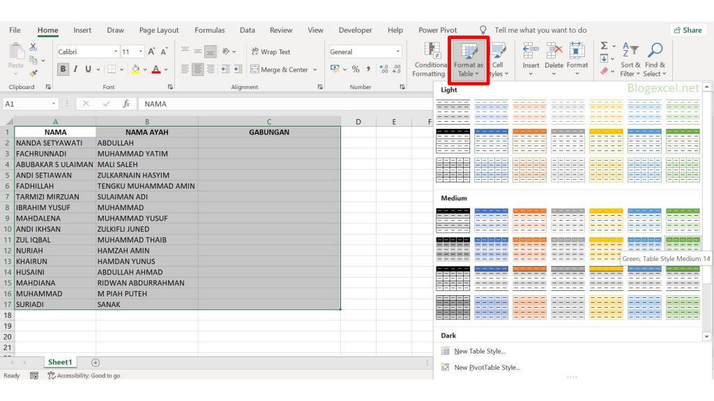 Cara membuat Format as Table di Excel