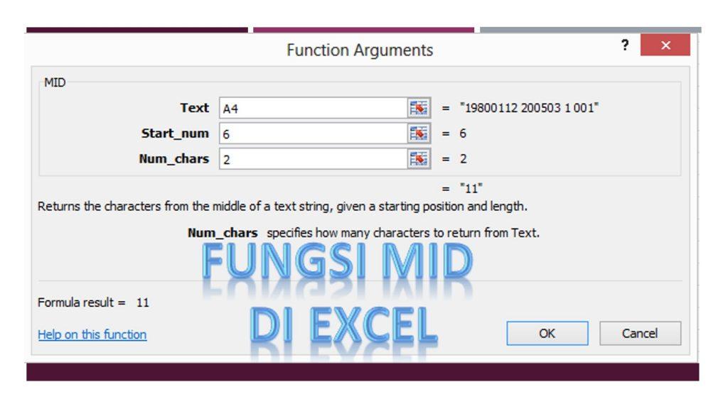 Fungsi MID di Excel