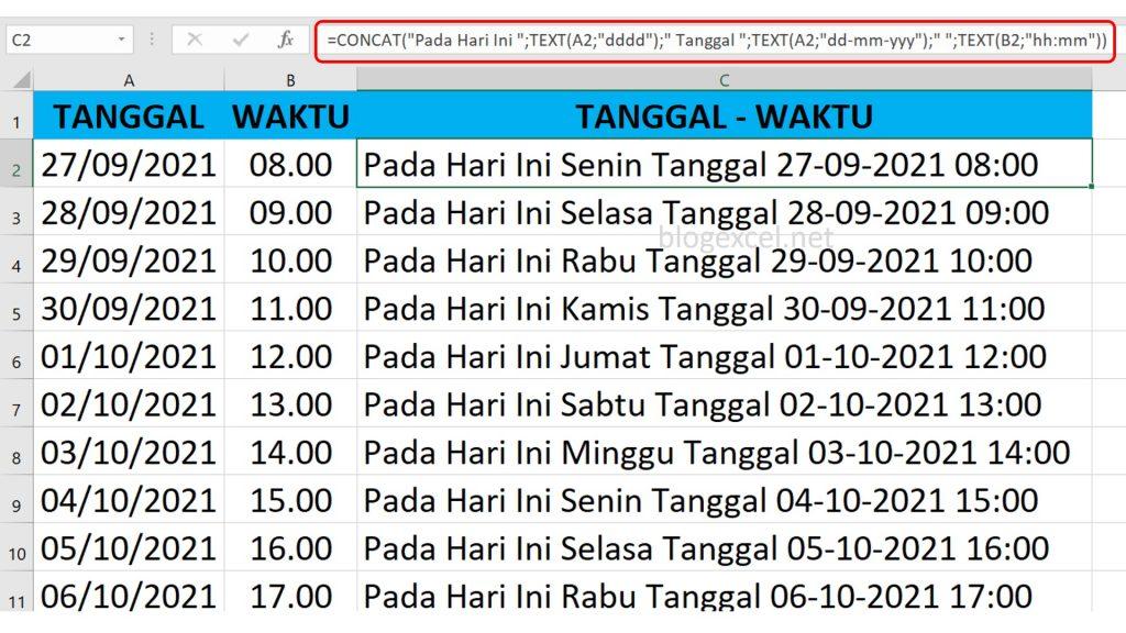 Cara Menggabungkan Hari Tanggal dan Waktu di Excel
