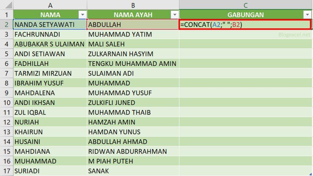 Fungsi Rumus Concat di Excel untuk Menggabungkan Nama Depan dan Belakang di excel
