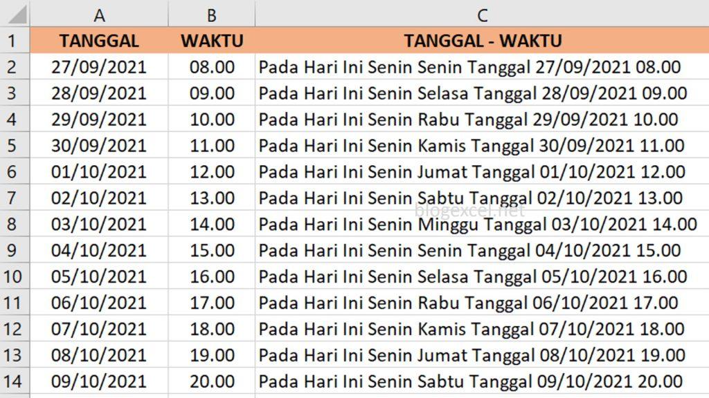 Hasil Penggabungan Hari tanggal dan waktu