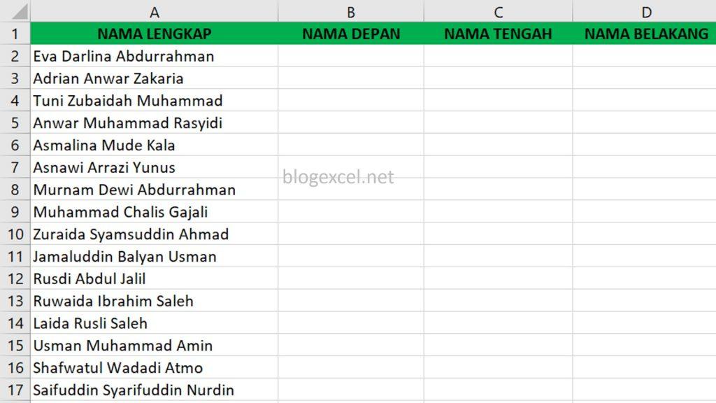 Memisahkan Nama Dengan Rumus di Excel