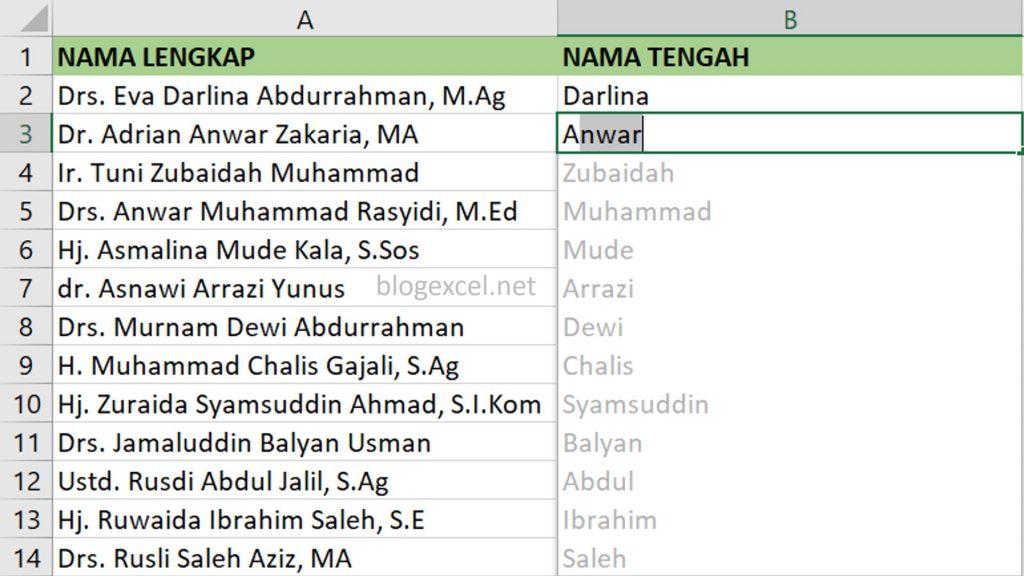 Memunculkan Nama Tengah Dengan cepat di Excel