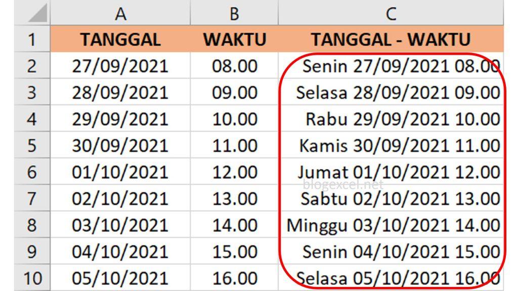 Penggabungan Hari tanggal dan waktu