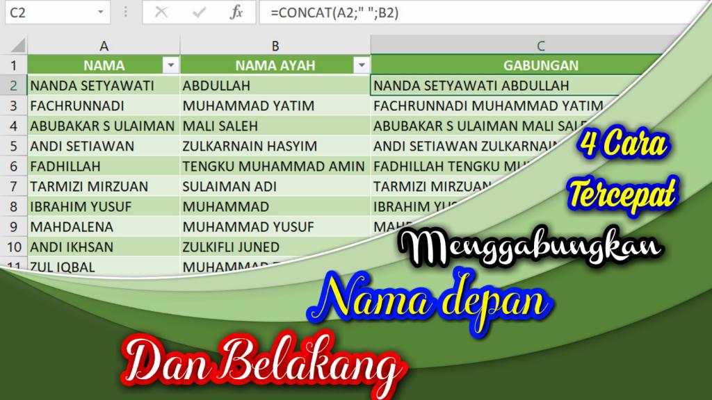 4 Cara Menggabungkan nama depan dan belakang di Excel