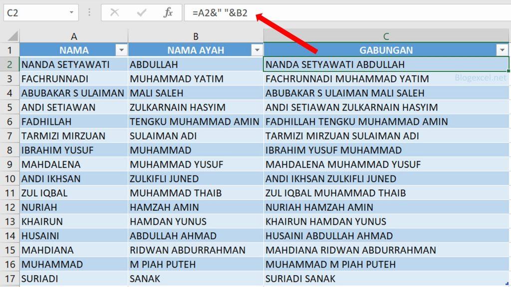 Cara mebuat Rumus Ampersand untuk Menggabungkan Nama Depan dan Belakang di Excel