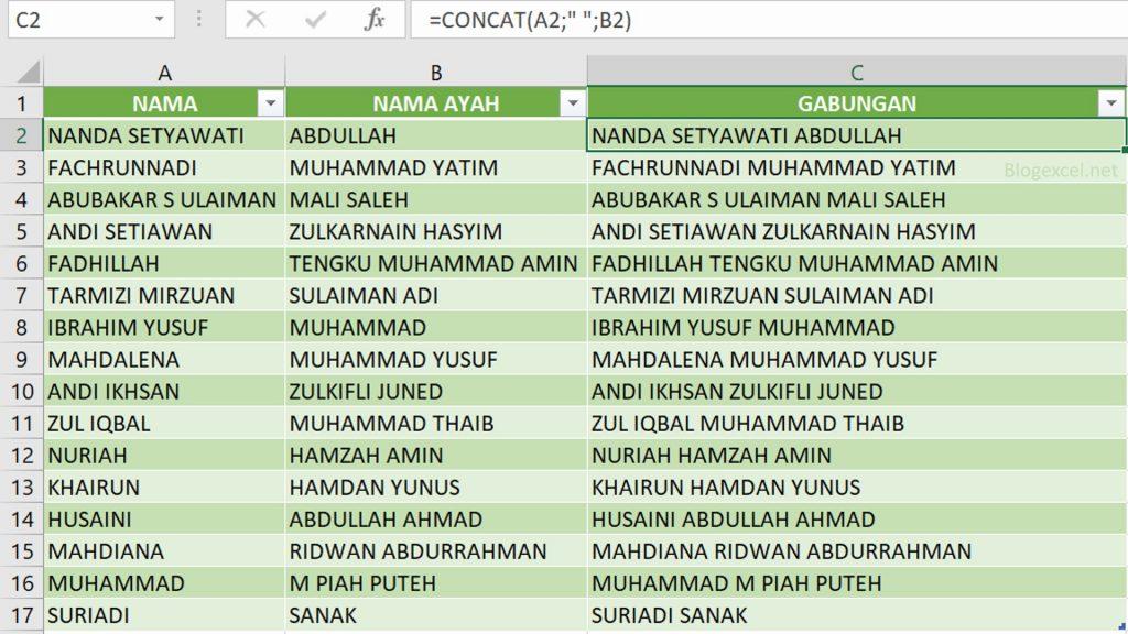 Cara membuat Rumus Concat untuk Menggabungkan Nama Depan dan Belakang di Excel