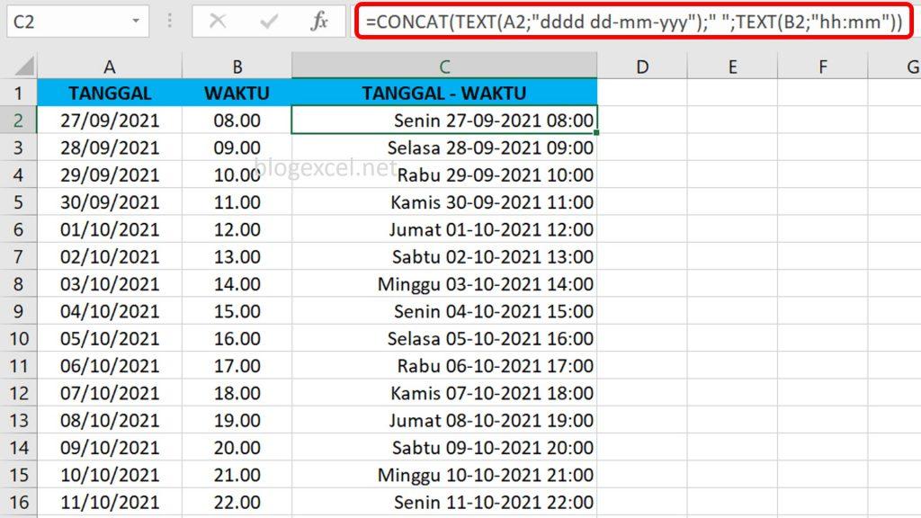 Rumus Cara Menggabungkan Hari Tanggal dan Waktu di Excel